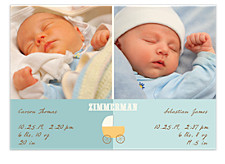 Heavenly Blue Baby Birth Announcement Photo Cards