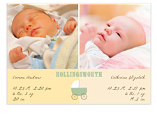 Heavenly Raffia Baby Birth Announcement Photo Cards