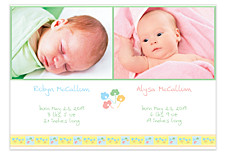 Posies Two Pics Photo Birth Announcement Cards