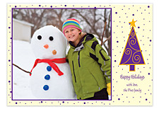 Purple Tree Christmas Photo Cards