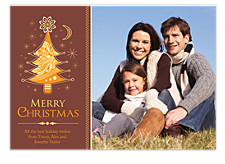 Orange & Brown Photo Christmas Cards