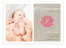 Welcome Baby Girl Birth Announcement Cards