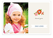 Floral Banner Horizontal Thank You Cards