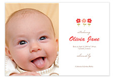 Olivia Flower Photo Birth Announcement Cards