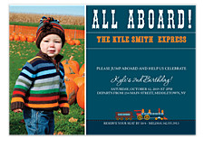 All Aboard Photo Kid Party Invitations