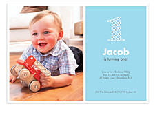 Blue Stripes Kid Birthday Party Invitations