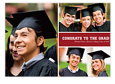 Mid Right Rectangle Harvard Red Graduation Announcement Cards