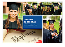 Floating Square Center Harvard Blue Graduation Announcement Cards