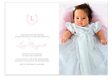 Wreath Christening Photo Kid Party Invitations