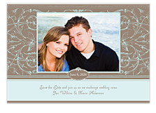 Blue Oval Save the Date Cards