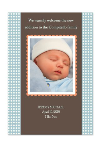 Aura Blue Birth Announcement Photo Cards