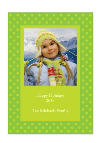 Framed Dots Green Holiday Photo Cards