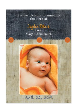 Ocean Wood Photo Birth Announcement Cards