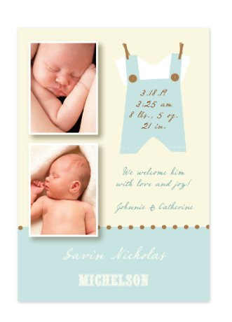 Kids Stuff Blue Baby Birth Announcement Photo Cards