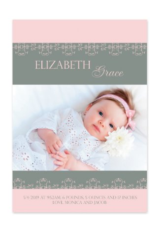 Pretty in Pink Baby Girl Birth Announcement Cards