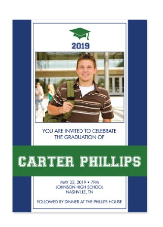 School Colors Graduation Invitation Photo Cards