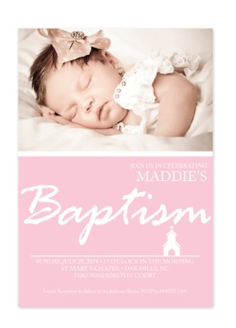 Chapel Baptism Pink Invitations