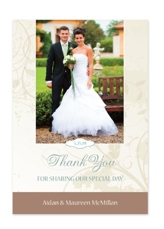 Neutral Florals Vertical Thank You Cards