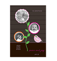 Circles Pink Holiday Photo Cards