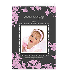 Trumpet Pink Christmas Photo Cards