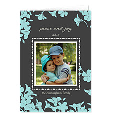 Trumpet Blue Christmas Photo Cards
