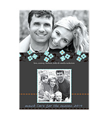 Daisy Stitch Blue Photo Holiday Cards