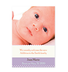 Amethyst Birth Announcement Photo Cards