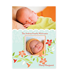 Hint of Spring Baby Birth Announcement Photo Cards