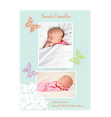 Butterfly Birth Announcement Photo Cards