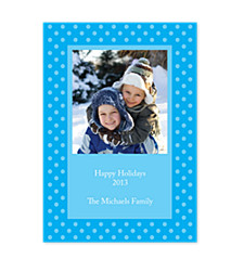 Framed Dots Blue Photo Christmas Cards