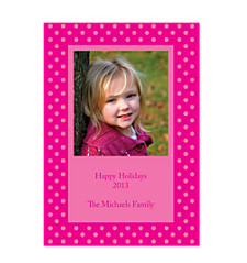 Framed Dots Pink Photo Christmas Cards