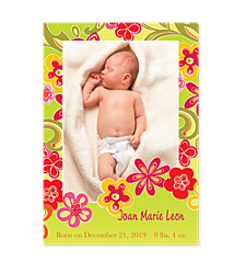 Flower Power Baby Birth Announcement Photo Cards