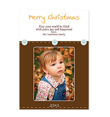 Stitched Buttons Holiday Photo Cards