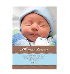 Cocoa Blue Baby Birth Announcement Photo Cards