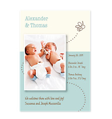Bees Knees Blue Birth Announcement Photo Cards
