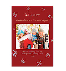Snow Crystal Raspberry Christmas Photo Cards