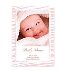 Tiger Stripe Pink Photo Birth Announcement Cards