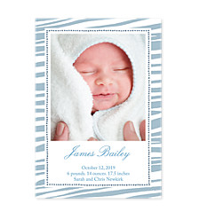 Tiger Stripe Blue Photo Birth Announcement Cards