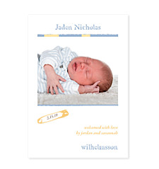 Dreamy Buff Photo Birth Announcement Cards