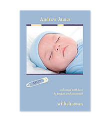 Dreamy Blue Photo Birth Annoucement Cards