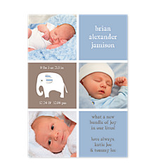 Sweet Pea Blue Photo Birth Announcement Cards