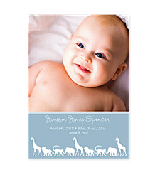 Animal Parade Blue Birth Announcement Cards