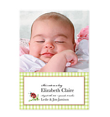 Gingham Ladybug Yellow Birth Announcement Photo Cards