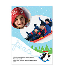 Skiing Penquin Photo Christmas Cards