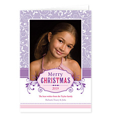 Purple Snow Photo Christmas Cards