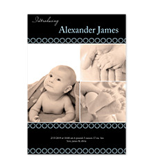 Baby Boy Blue Back Birth Announcement Cards