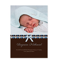 Blue Ribbon Photo Birth Announcement Cards