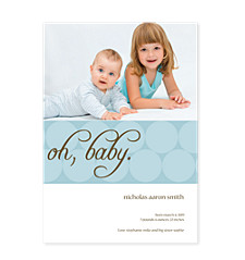 Oh Baby! Blue Birth Announcement Cards