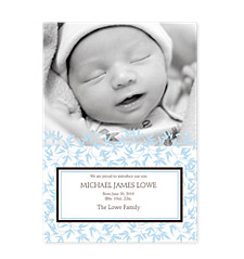 Playful Blue Photo Birth Announcement Cards