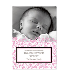 Playful Pink Birth Announcement Cards